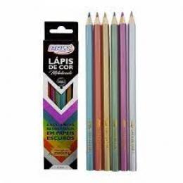 Lápis de cor  Metalizado  Estojo com 6 cores   BRW