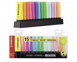 Marca Texto 15 cores + Display Set (9 Cores Fluo + 6 Tons Pastel)   Stabilo Boss