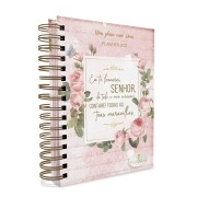 Meu plano com Deus capa rosa - Planner 2021 Eu te louvarei