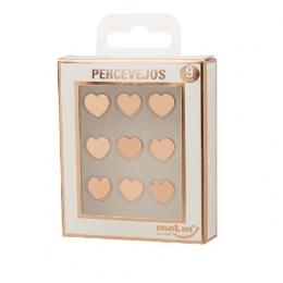 Percevejo para Lousa e Quadro Coração Rosê com 9 Unidades | Molin