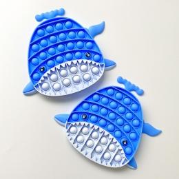 Pop Popit de Silicone Fidget Toy Brinquedo Anti stress Relaxante Baleia Cor Azul Pastel  Importado