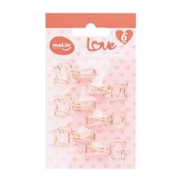 Prendedor Love Gato Rose Gold c/ 06 Unidades |  Molin