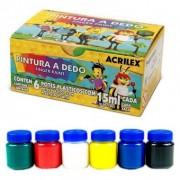 Tinta para pintura a dedo com 6 Cores 15ml | Acrilex