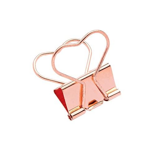 Binder Clips Love 25mm Coração Rose Gold C/5 Unidades | Molin