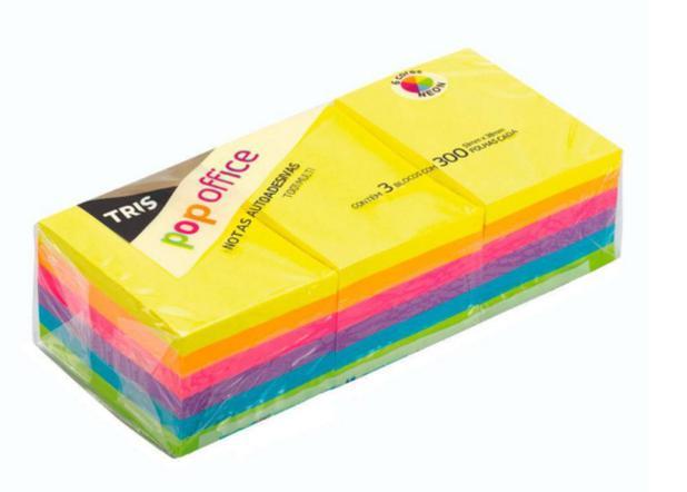 Bloco Adesivo 51x38mm 3 Blocos de 300 Folhas Em Cores Neon | Tris