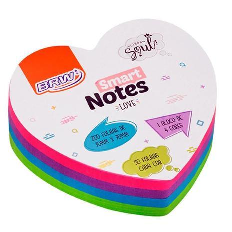 Bloco Adesivo  Smart Notes Coração 4 Cores 70x70mm 200fls | Brw