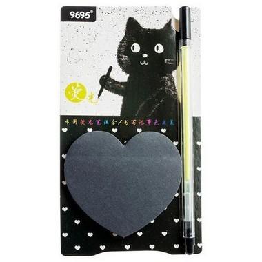 Bloco auto adesivo gato preto com caneta SORTIDO | Importada