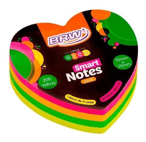 Bloco De Anotações 70x70mm Coração Neon Notes 200 Folhas | BRW