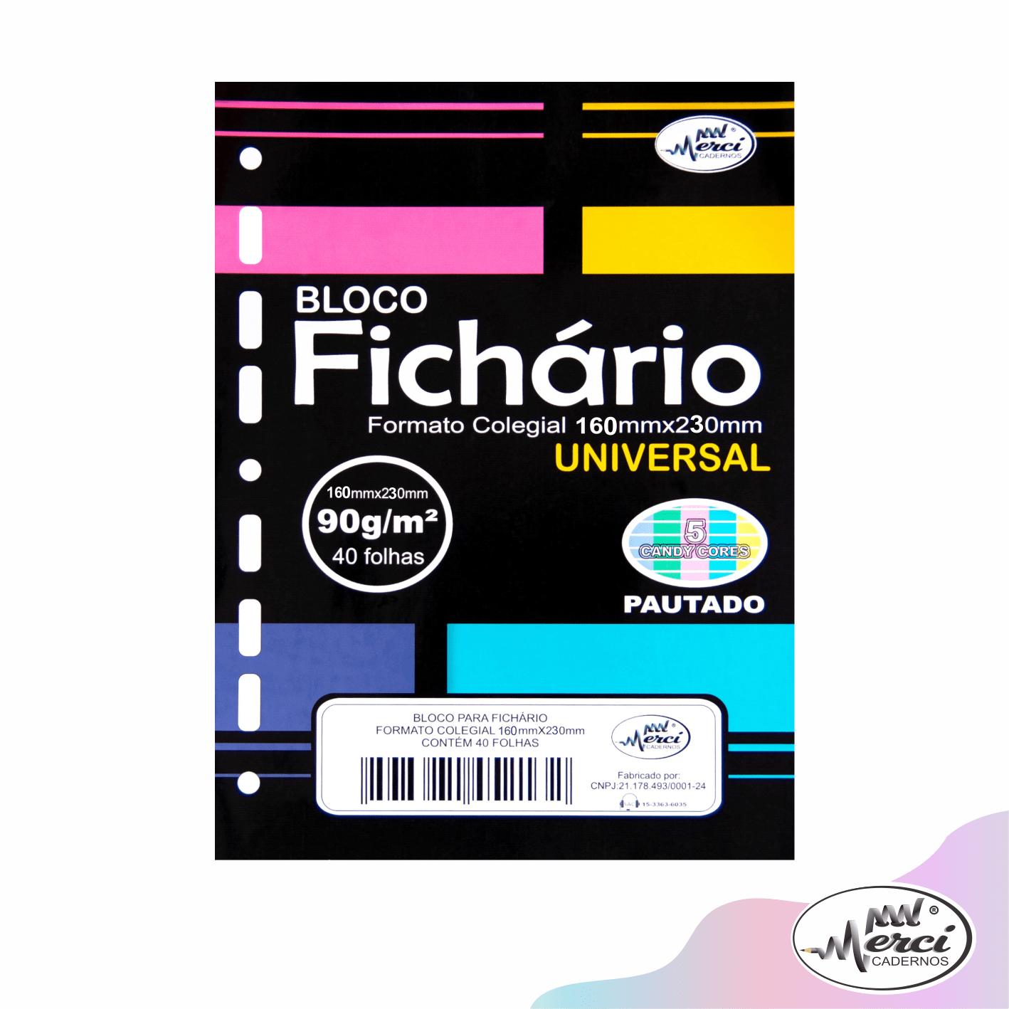 Folhas de Fichário Coloridas Pautado Colegial 40 folhas 90gr Candy Colors | Merci