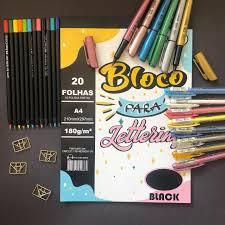 Bloco para Lettering folhas Black 180gr   Merci Cadernos