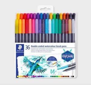 Caneta Brush Pen Duas Pontas Aquarelável 36 Cores Letter Brush Duo 0,5mm e 3,0mm| Staedtler