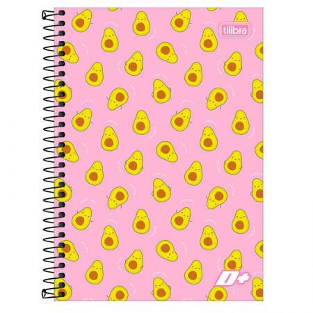 Caderno Capa Dura Universitário D+ 10 Matérias 200 Folhas - Abacate Rosa | Tilibra