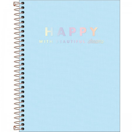 Caderno Capa Plástica Happy Colegial Azul 160 folhas | Tilibra