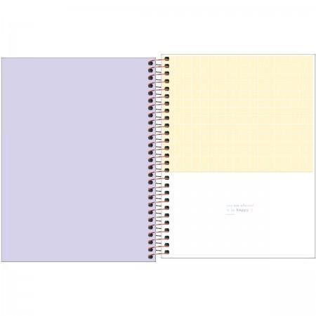 Caderno Capa Plástica Happy Colegial lilás 160 folhas | Tilibra