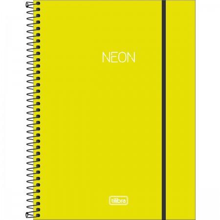 Caderno Capa Plástica Universitário com Elástico Verde Neon 80 folhas | Tilibra