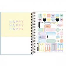 Caderno Colegial Capa Plástica Happy 80 folhas - Cores Variadas | Tilibra