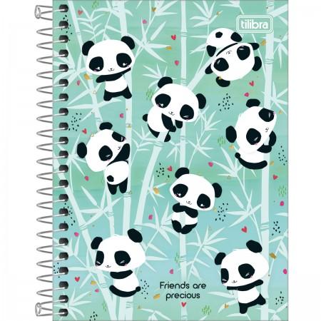 Caderno Espiral A5 Capa Dura 1/4 Pandas Lovely Friend 80 Folhas | Tilibra