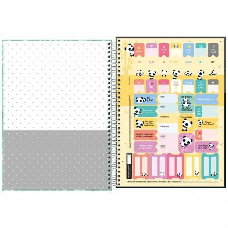 Caderno Espiral Universitário Capa Dura Pandas Lovely Friend 160 Folhas | Tilibra