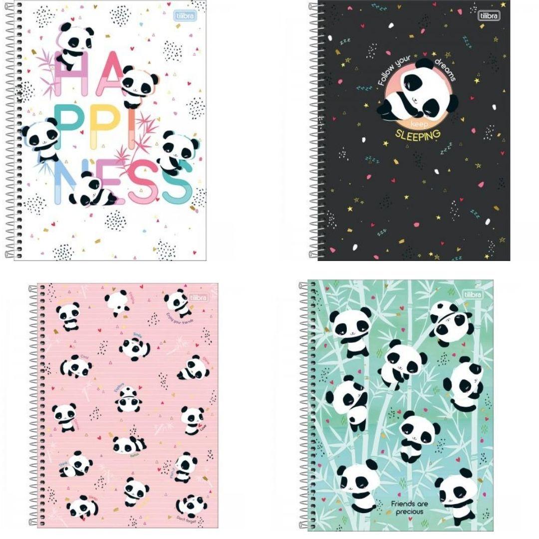 Caderno Espiral Universitário Capa Dura Pandas Lovely Friend 80 Folhas | Tilibra