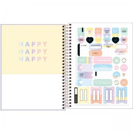 Caderno Happy Capa Plástica Lilás Colegial 1 Matéria 80 Folhas | Tilibra