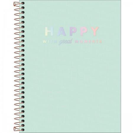 Caderno Happy Verde Claro Universitário 80 folhas | Tilibra