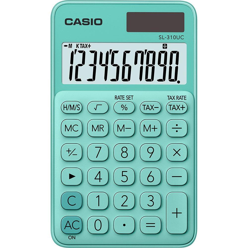 Calculadora de Bolso 10 dígitos Bateria Solar 12x7 cm Verde| Casio