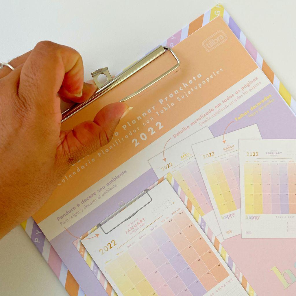 Calendário Planner 2022 Prancheta Mensal Happy   A4 12 folhas   Tilibra