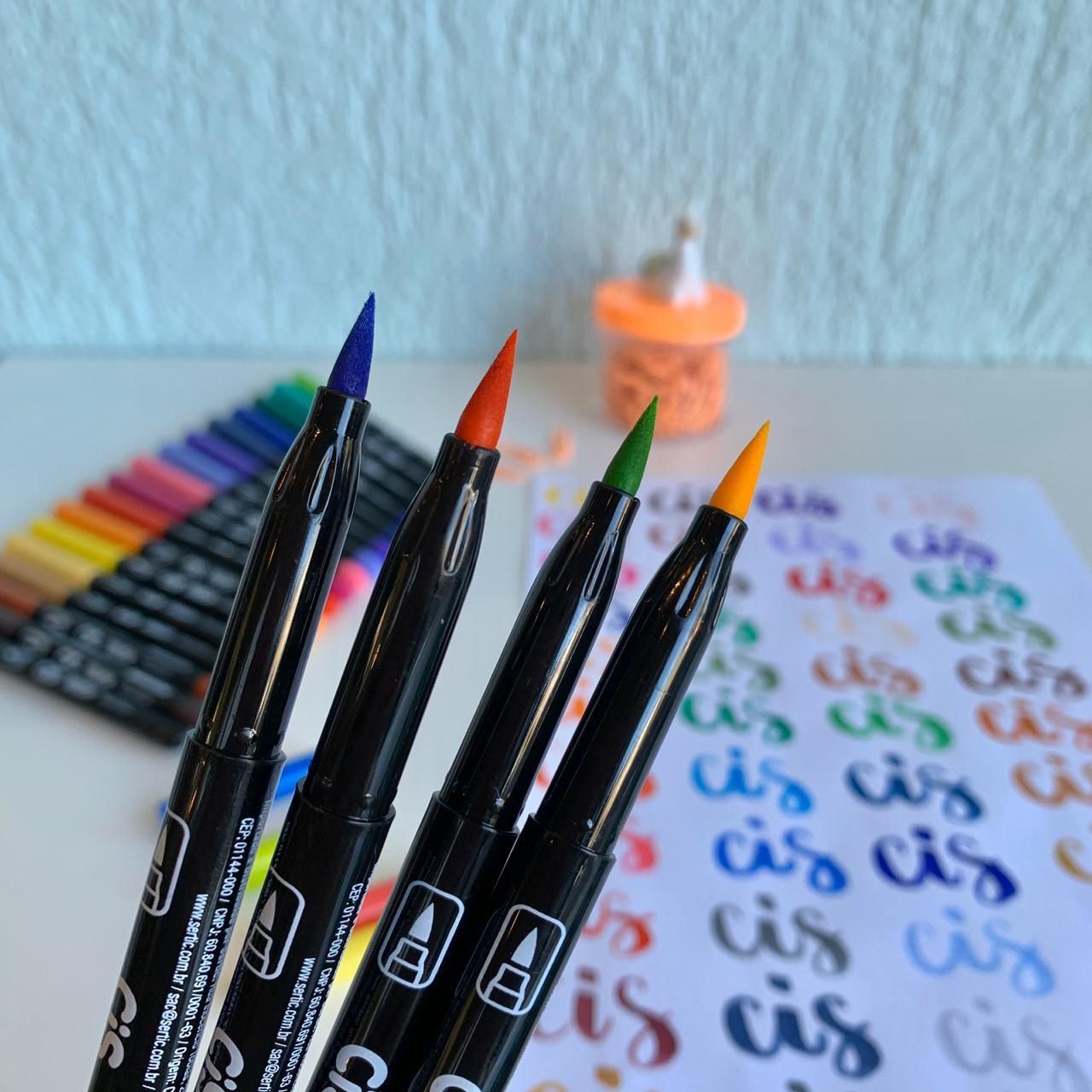 Caneta Brush Pen com Tinta Aquarelável 12 cores   CiS