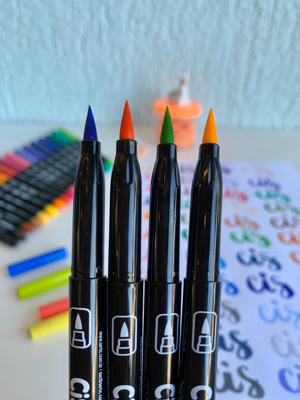 Caneta Brush Pen com Tinta Aquarelável 6 Cores Tons Pastel| CiS