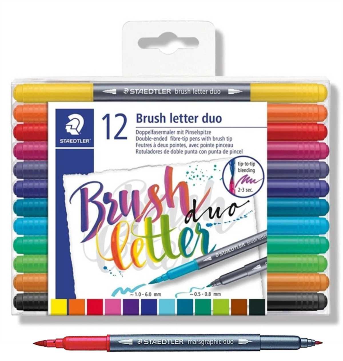 Caneta Brush Pen Lettering Aquarela Staedtler  C/ 12 Cores