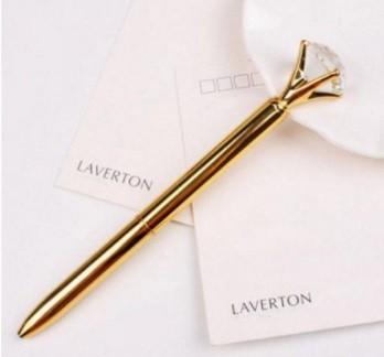 Caneta de Metal Luxo Diamante Dourada | Importada