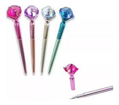 Caneta Diamante Corpo Plástico - Cores Sortidas | Importado