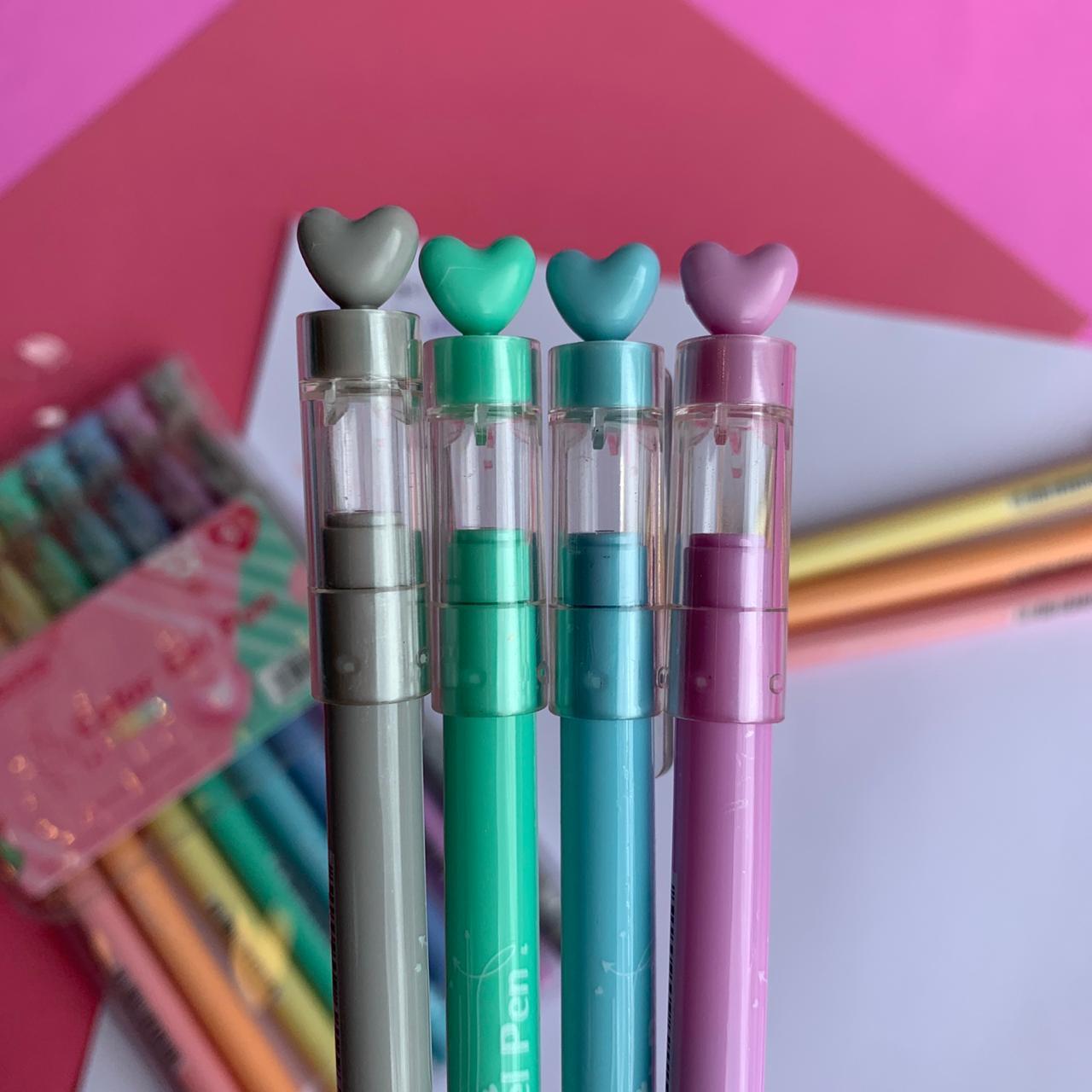 Caneta Gel Coração 8 cores | Importada