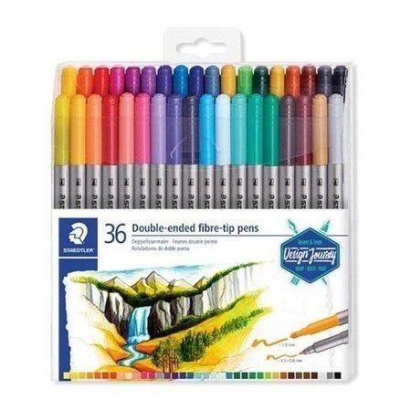 Caneta Hidrocor 36 cores Duas Pontas 0.5 e 3.0 Double Ended Fibre tip pens | Staedtler
