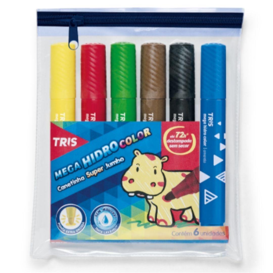 Caneta Hidrocor Color Super Jumbo com 6 cores | Tris