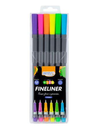 Caneta Hidrográfica Fineliner Neon 0,4mm  C/6 Unid | Brw
