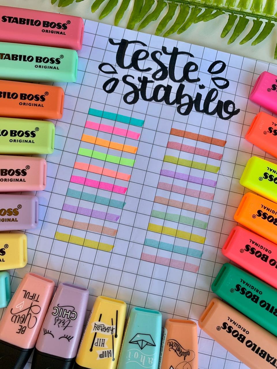 Caneta Marca Texto Mini Boss Pastel Avulsa Cores Variadas   Stabilo