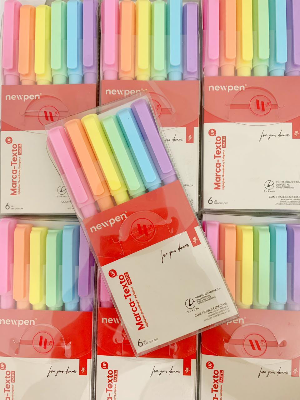 Caneta Marca Texto Pastel Kit com 6   Newpen