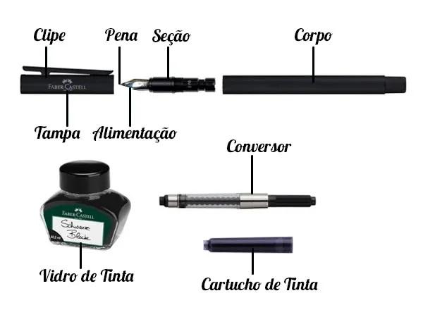 Caneta Tinteiro Ponta Pena Tinta Preta | Importado