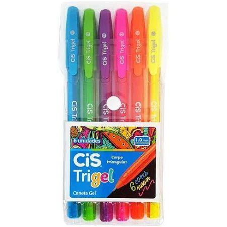 Caneta Trigel 1,0MM Neon 6 Cores   Cis