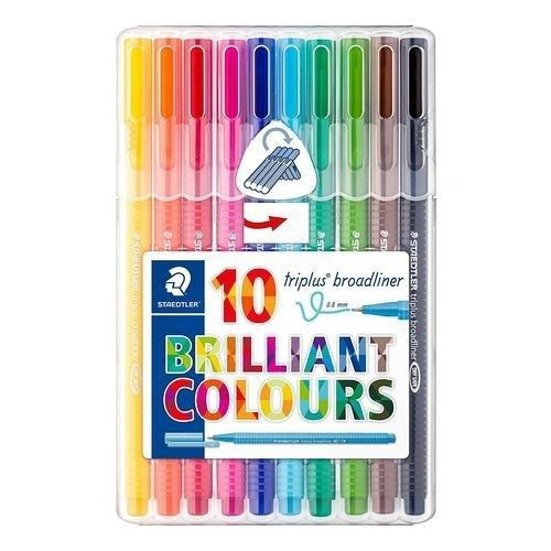 Caneta Triplus Broadliner 0.8 mm 10 cores Brilliant Colours | Staedtler