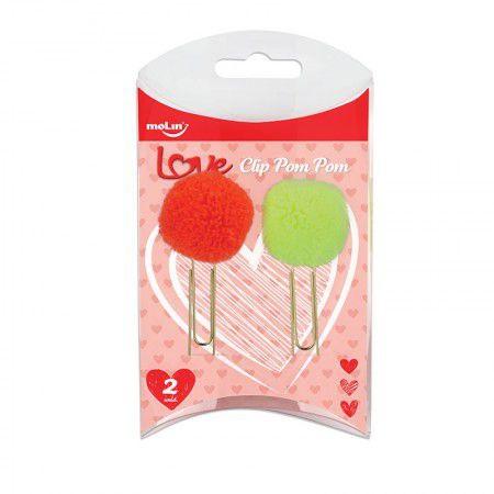 Clips Pom Pom Love com 2 unidades - Amarelo e Laranja Neon | Molin