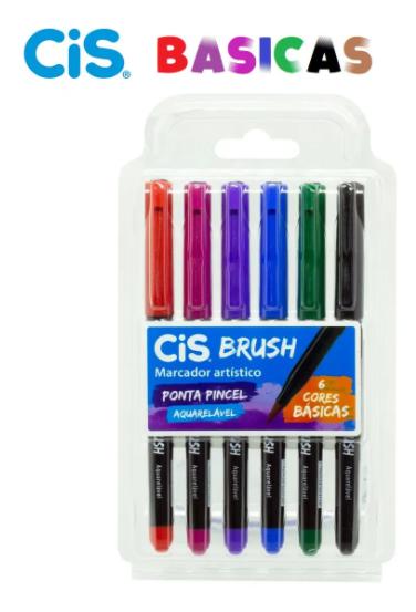 Conjunto caneta Brush Pincel com Tinta Aquarelável 6 Cores Básicas| CiS