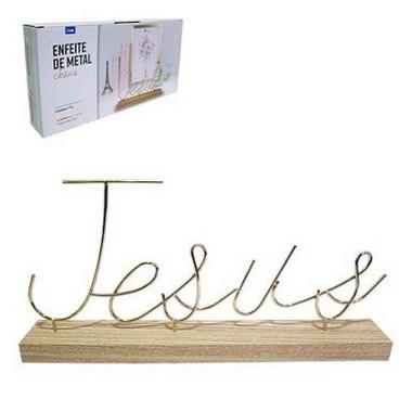 Enfeite De Madeira Dourado Jesus Decoração Casa Luxo | FWB