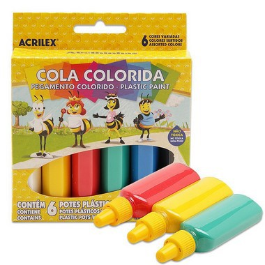 Estojo escolar de Cola Colorida   06 Cores 23g   Acrilex