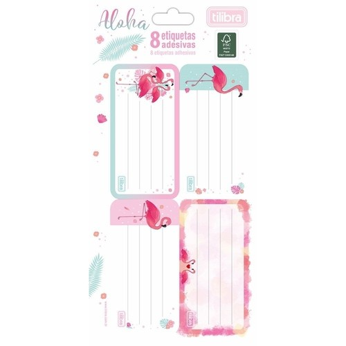 Etiqueta Adesiva Flamingo Aloha com 8 unidades | Tilibra