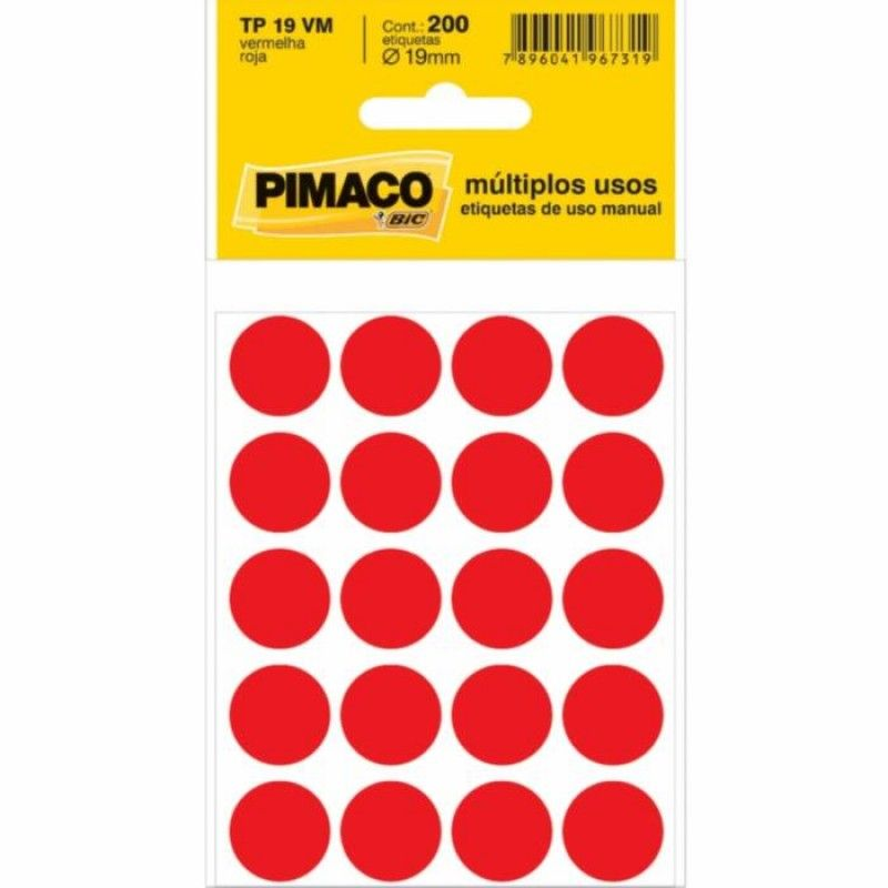 Etiqueta adesiva p/ codificação 19mm PT 200 UN | Pimaco