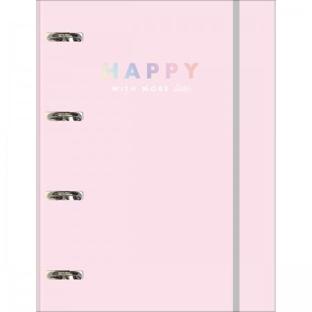 Fichário Caderno Argolado Happy Rosa | Tilibra