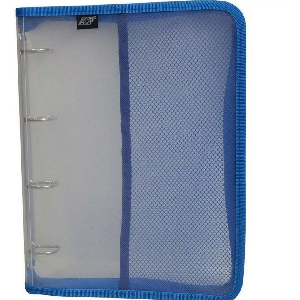 Fichário Universitário Transparente Cristal 250mmx340cmx 35mm PVC com Zíper Azul | ACP