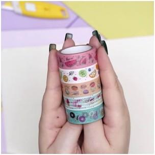 Fita Adesiva Decorada Washi Tape 5MX15MM com 5 Food Trends | Leonora